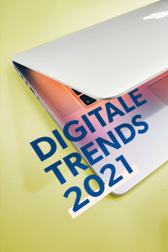 "half-closed laptop with lettering ""Digital Trends 2021"